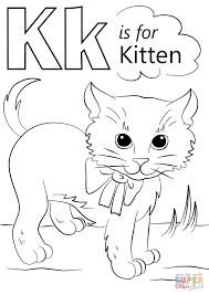 letter kitten coloring free printable coloring pages