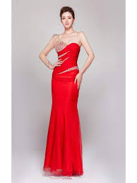 beaded long sleeve one shoulder floor length red mermaid evening