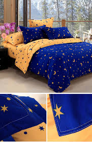 Electric Blue Duvet Cover Kcasa Kc Bs20 4pcs Bedding Suit Polyester Fibre Star Moon Reactive