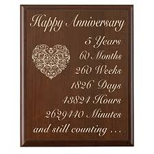 fifth wedding anniversary gift 5th wedding anniversary wall plaque gifts for 5 year