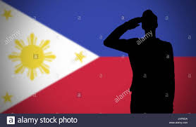 Flag Philippines Picture Silhouette Of A Soldier Saluting Against The Philippines Flag