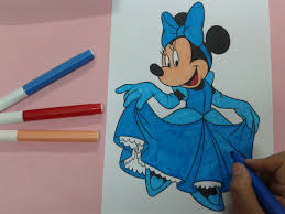 arts for kids how to color minnie mouse looks like cinderella