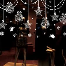 Window Ornaments With Lights Decorations Hanging Balls Shinning Snowflakes And