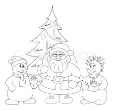 santa claus christmas tree and snowmans outline stock photo