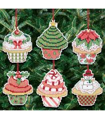 cupcake ornaments counted cross stitch kit set of 6 14