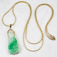 jade with gold necklace images Fantastic kwan yin natural jade buddha pendant 585 14k gold 24 jpg