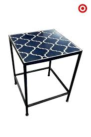 Umbrella Side Table Side Table Round Metal Patio Side Table Silver Madras Drum Patio