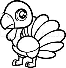 how to draw a chibi turkey for kids step by step animals for