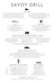 menus savoy grill gordon ramsay restaurants