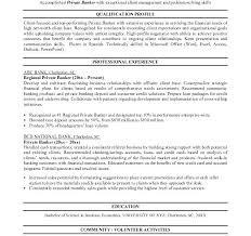Bankers Resume Private Banker Resume Sample Commercial Banking Manager Private