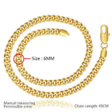 plated necklace chains images 2018 6mm 18inch 18k gold plated necklace fashion men 39 s curb chain jpg