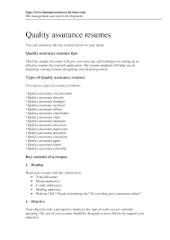 quality assurance specialist sample resume onlinefreevideo us