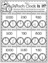 two telling time worksheets with a spring theme one portrays time