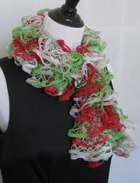 red with silver thread on edge ruffle hand knitted scarf for women