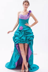 flowers strap sea green high low prom dress with beading