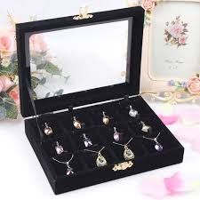 necklace earring display box images Fashion black 12 slots necklace box pendant holder jewelry display jpg