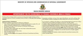 Ministry Of Interior Recruitment Kenya Prisons Service Vacancies Prison Constable Recruitment Daily