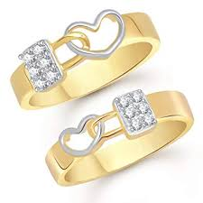 couple rings gold images V k jewels love lock gold and rhodium plated couple rings jpg