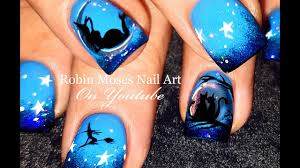 halloween nails diy chrome nail art witch and cat nail design