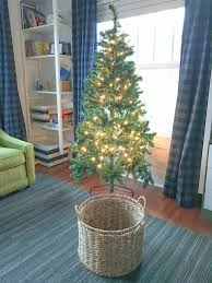 how to turn a storage basket into a tree skirt without