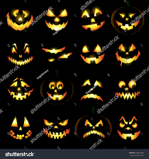 halloween black background pumpkin jack o lantern pumpkin faces glowing stock vector 109501802