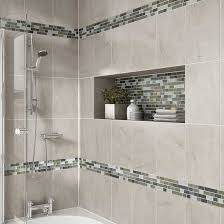 bathroom tile design details photo features castle rock 10 x 14 wall tile with glass