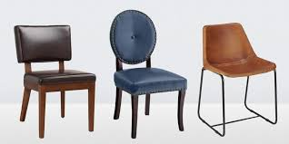 Leather Dining Chair Outstanding Elliot Leather Dining Chair Pottery Barn Within Leather