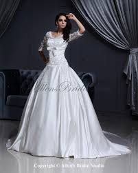 half lace wedding dress allens bridal satin and lace v neck chapel gown