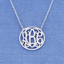 Silver Monogram Necklace Silver 3 Initials Circle Monogram Necklace 5 8 Inch Diameter