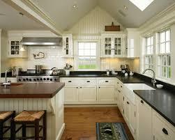 Butcher Block Kitchen Countertops Beadboard Backsplash Butcherblock Kitchen Farmhouse With Black