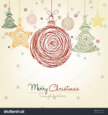 colorful handwritten retro christmas ornaments stock vector