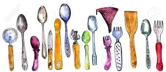 ustensiles de cuisine en c ensemble d ustensiles de cuisine dessin de l aquarelle et de l encre