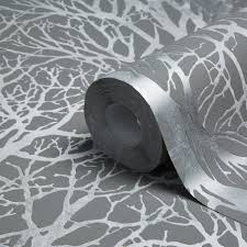 tree print grey silver metallic wallpaper departments