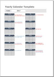 free yearly calendar template for excel 2007 2016