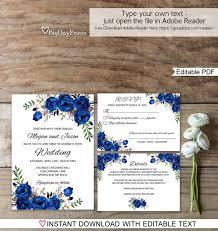 royal blue wedding blue wedding invitation template royal blue wedding