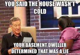 Basement Dweller Meme - you said the house wasn t cold your basement dweller determined that