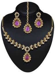 purple gold necklace images Exclusive design purple austrian stone gold finishing necklace set jpg