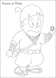 amara as ninja coloring page for kids