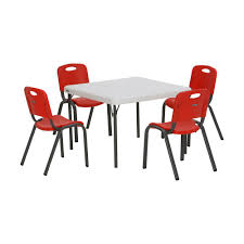 childrens table chair sets lifetime 5 piece red and white children s table and chair set 80556