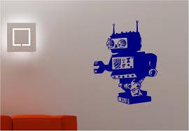 retro robot space wall art sticker decal kids childrens bedroom ebay