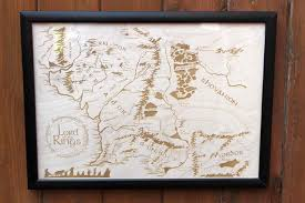 Lotr Map Wooden Middle Earth Map Engraved Into Wood Lord Of The