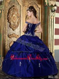 royal blue ball gown off the shoulder floor length taffeta