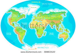 map with oceans geographical map names continents oceans stock vector