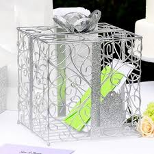 wedding gift card holder silver metal scroll wedding gift card box