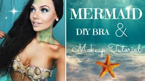 mermaid tails for halloween halloween tutorial mermaid makeup and diy bra youtube