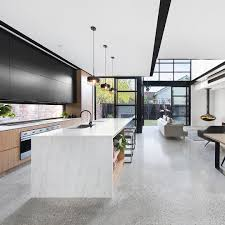 Black And White Kitchen Kitchen by Grey Polished Concrete Floor With Black And White Aggregate Black