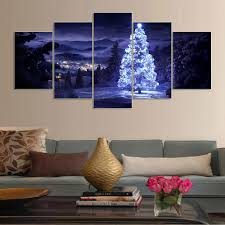 5 piece canvas art living room christmas decorations for home 5 piece canvas art living room christmas decorations for home aesthetic moving led tree picture painting print on canvas j0212 in painting calligraphy