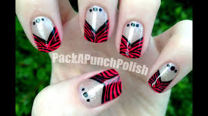 zebra print v shape french tip nail art tutorial youtube