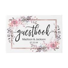 monogram guest book blush gold framed floral wedding monogram guest book