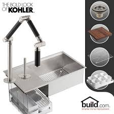 Bronze Faucet With Stainless Steel Sink Kohler K 3760 K 6227 C11 Cp Polished Chrome Faucet Stages Kitchen